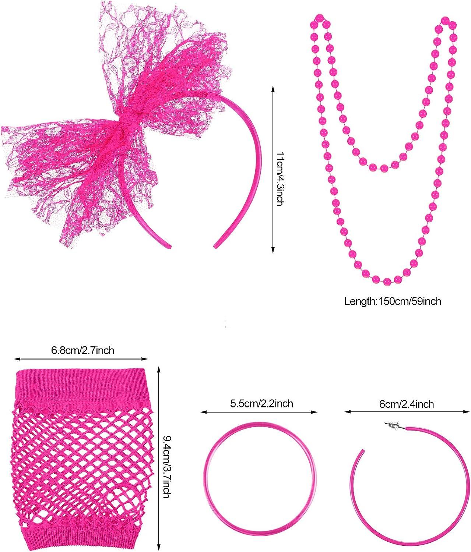 Blulu 80s Lace Stirnband Ohrringe Fischnetz Handschuhe Halskette Armband f/ür 80s Partei Lila