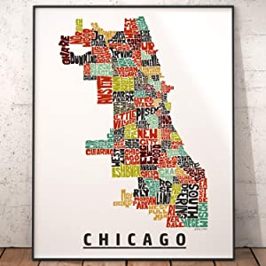Chicago Neighborhood Map Print, signed print of my original hand drawn Chicago typography map art