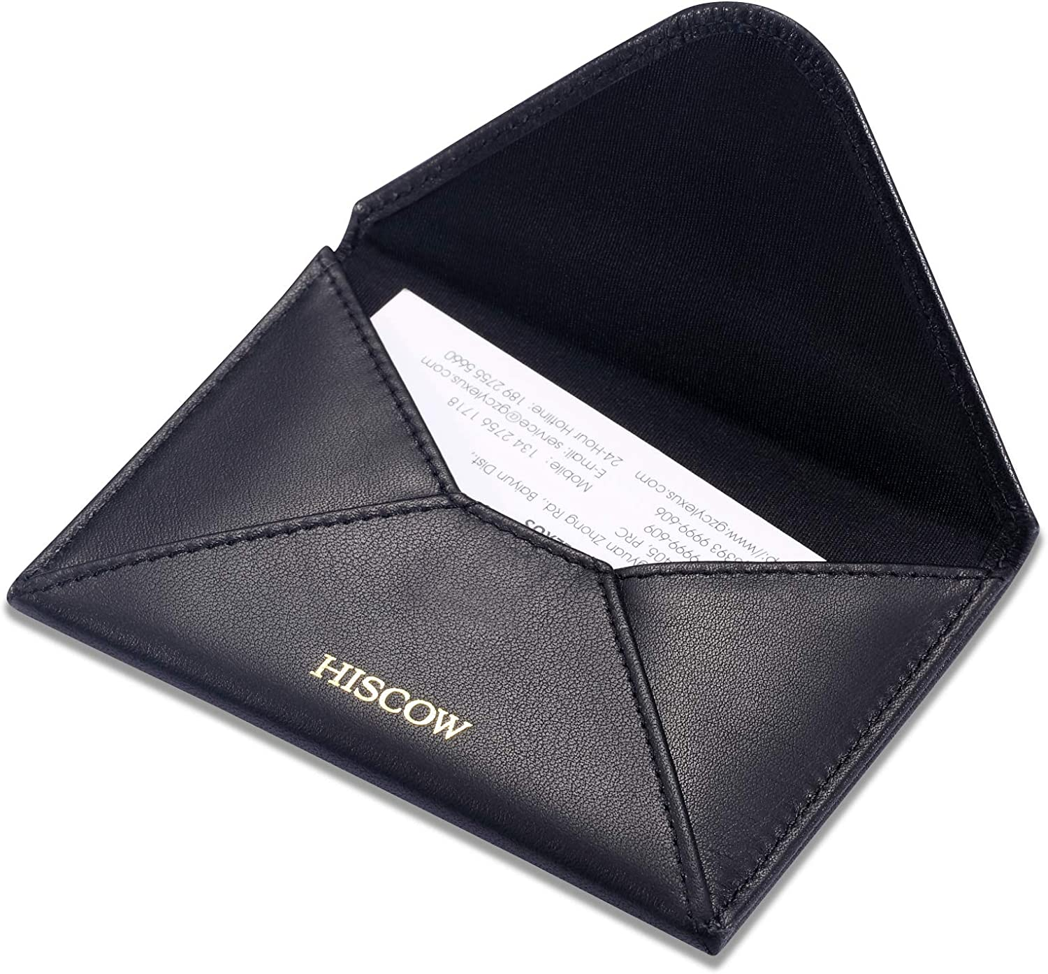 HISCOW Envelope Business Card Case with Magnet Closure - Italian Calfskin (Black, Gold Logo)
