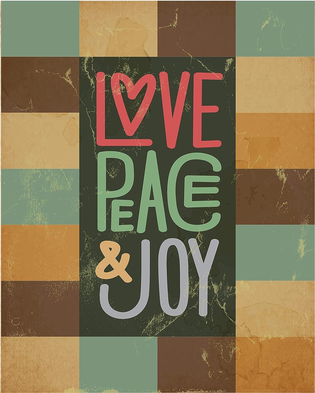 Love Joy Peace Wall Art, Cool Vintage Art Prints - Coffee - Dark - White Room Decor | 8 x 10 | 16x20 UnFramed…