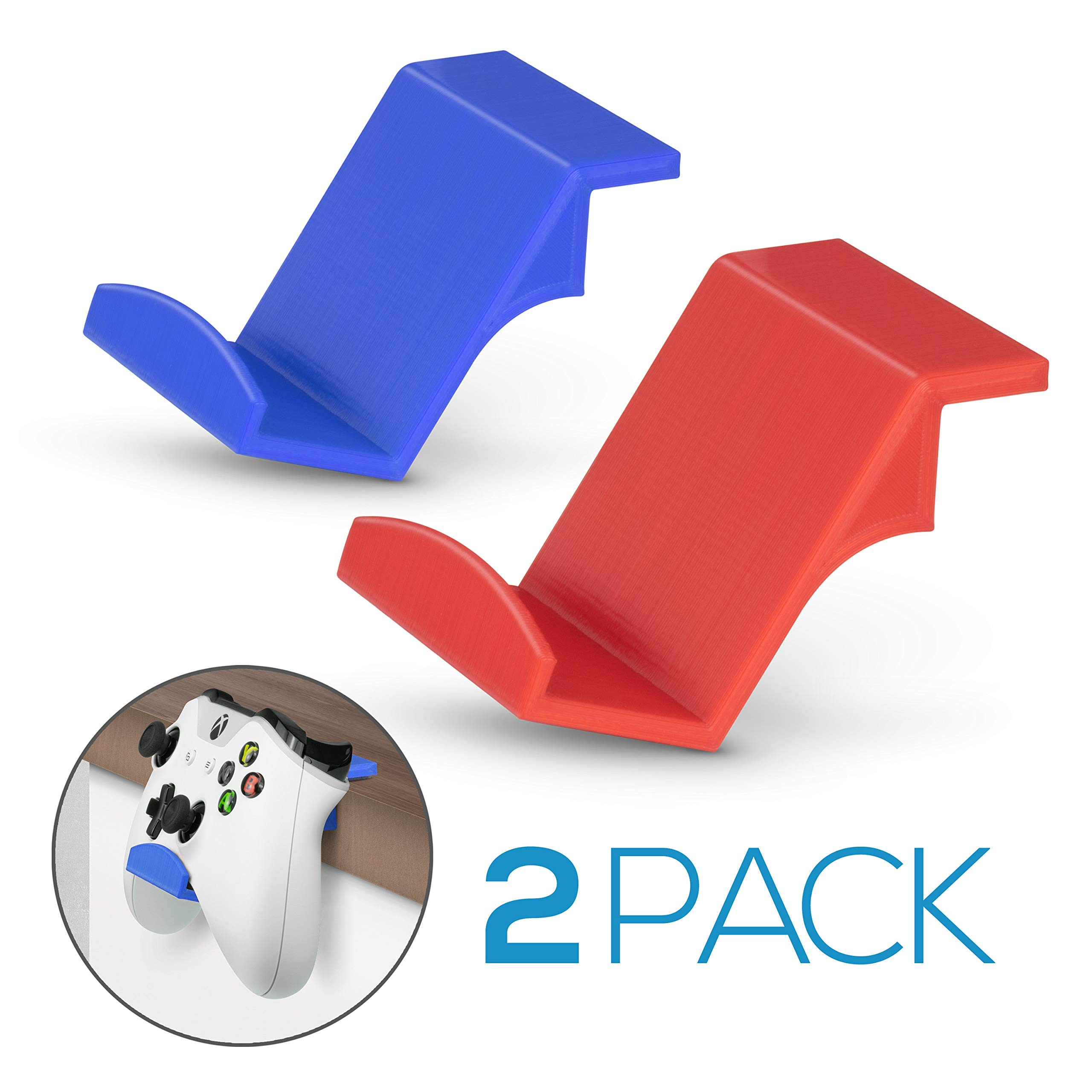 Game Controller Desktop Stand Holder (2 Pack) for XBOX ONE 360 SWITCH PS4 STEAM PC NINTENDO, Universal Gamepad Accessories - No screws, Stick on, Red & Blue By Brainwavz by BRAINWAVZ