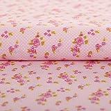 Stoff Meterware, Rosen Blumen Punkte Tupfen, Rosa, Baumwolle, Trachtenstoff, Dirndlstoff, Bekleidungsstoff, Bettwäsche, Kissenbezug, Dekostoff,