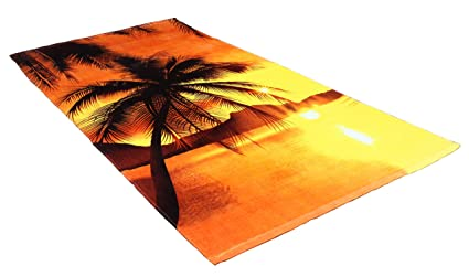 Dish Towels Set of 2 Palm Trees Sunset Beach House 100/% Cotton Dish Towel New