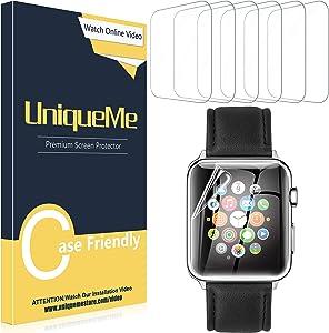 [5 PACK]UniqueMe Screen Protector for Apple Watch Series 5/Series 4 (40mm), TPU Clear Soft Film,HD Clear, Anti-Scratch