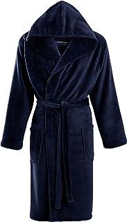 STONEBRIDGE Mens Luxury Super Soft Men Dressing Gown Hooded Bathrobe (Navy Plain Hooded, XX-Large)