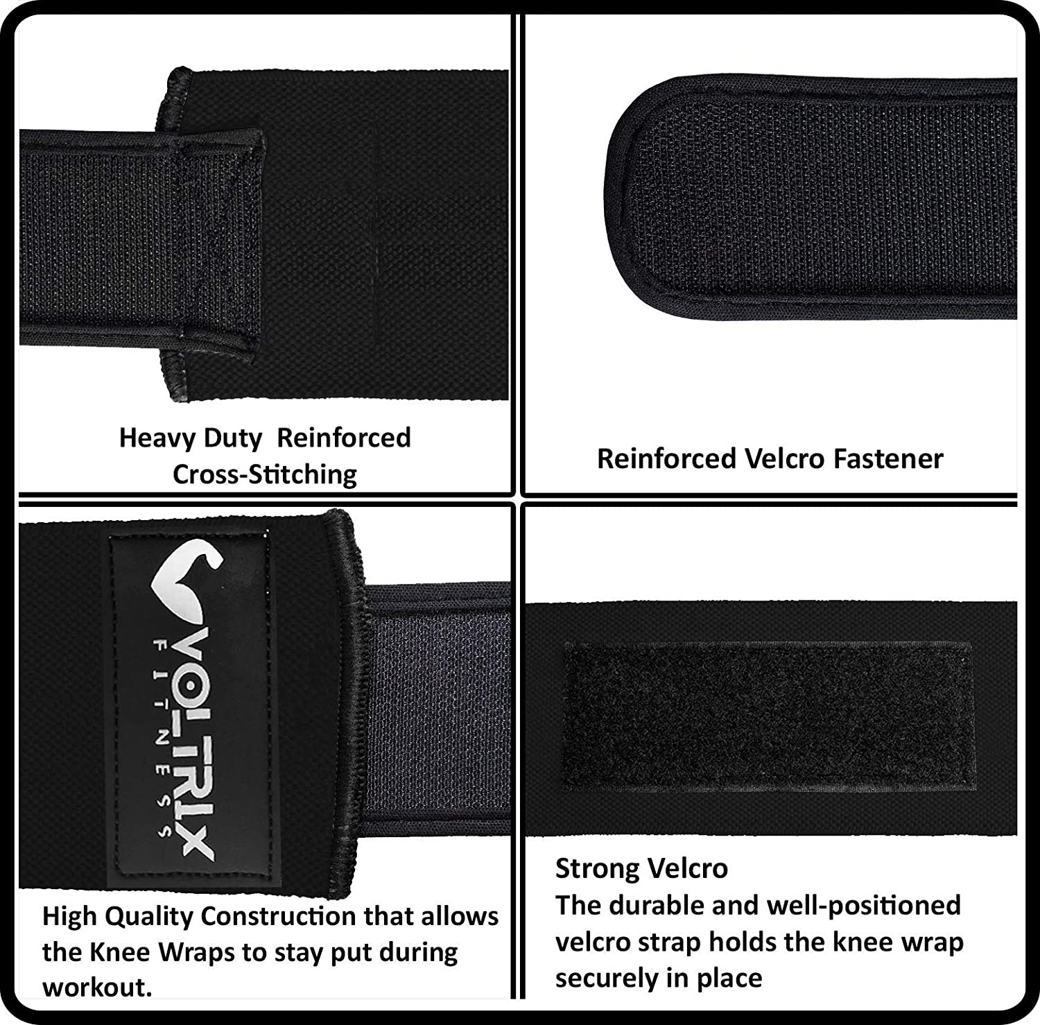 Durable Stitching Voltrix Fitness Knee Wraps Heavy Duty 78 Elastic Compression Knee Straps to Enhance Your Power Lifting Strong Fastening Straps