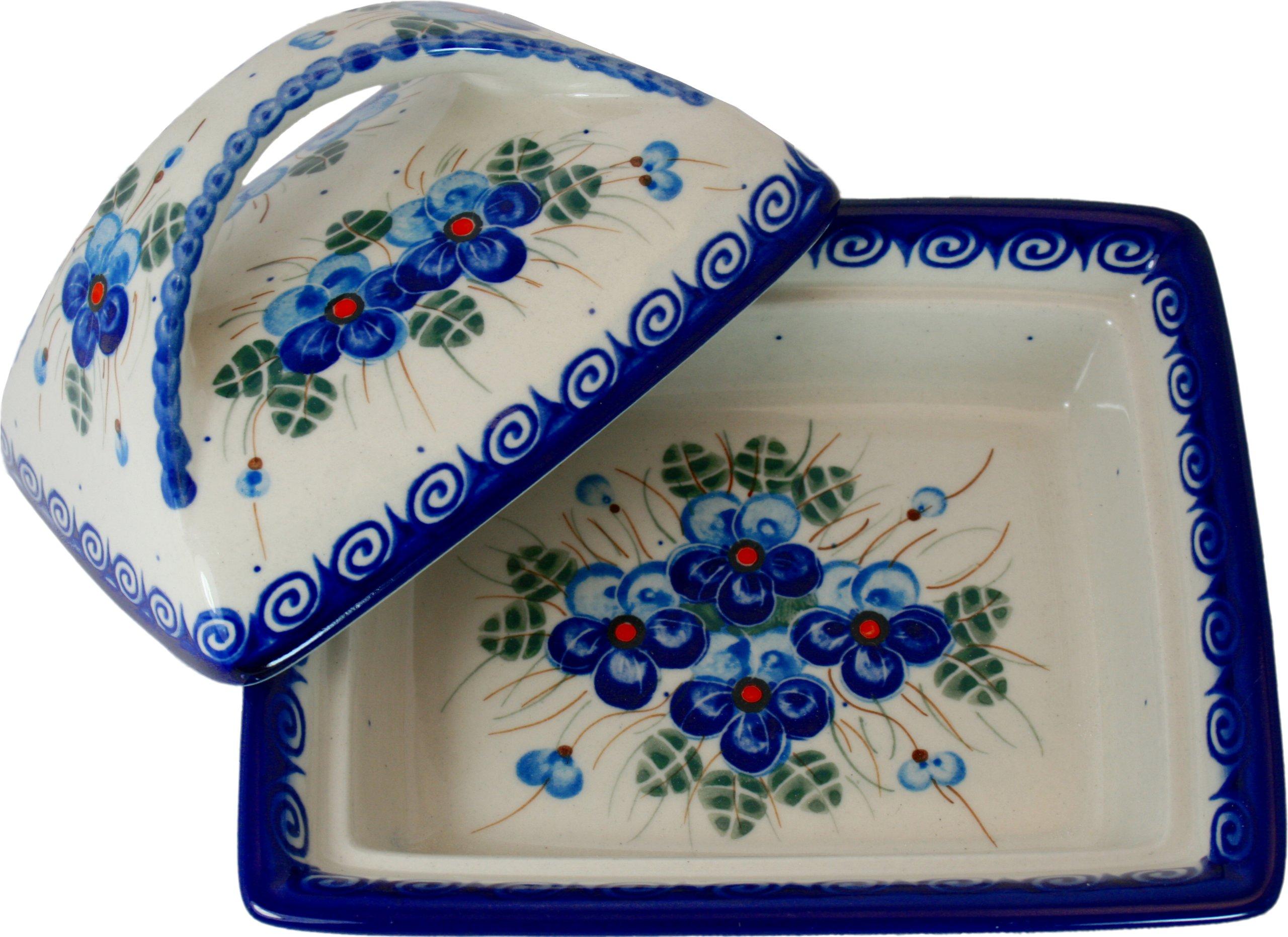 Polish Pottery Ceramika Boleslawiec, 0352/162, Butter Dish Deep, 2 Cubes, Royal Blue Patterns with Blue Pansy Flower Motif by Polish Pottery Ceramika Boleslawiec (Image #4)