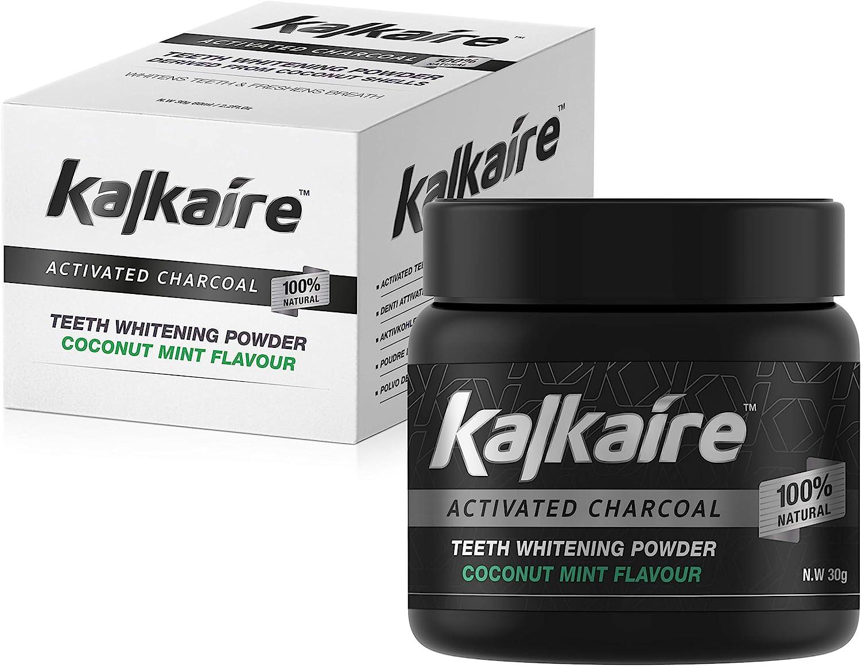 AH Kalkaire - Blanqueamiento dental - Carbón activo de coco para dientes blancos - Polvo blanqueador - Limpieza de dientes - Blanqueamiento dental - Blanqueamiento de dientes - Dientes blanqueados
