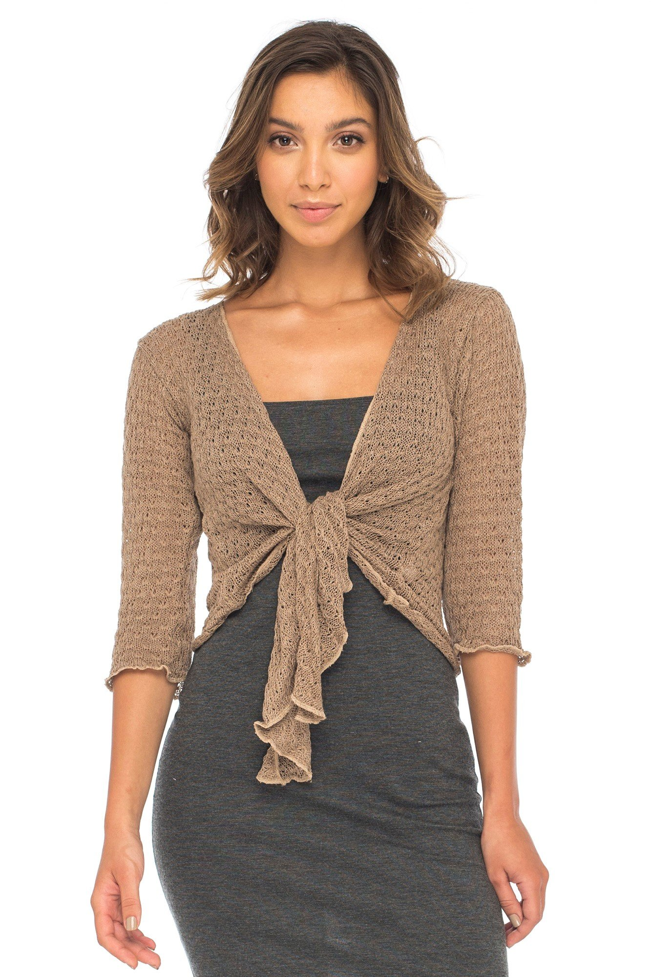 Back From Bali Womens Shrug Cardigan 100% Cotton Lightweight Knit Sweater Tie Front Beige