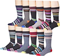 12 Pairs of excell Mens Fashion Designer Dress Socks- Cotton Blend ...