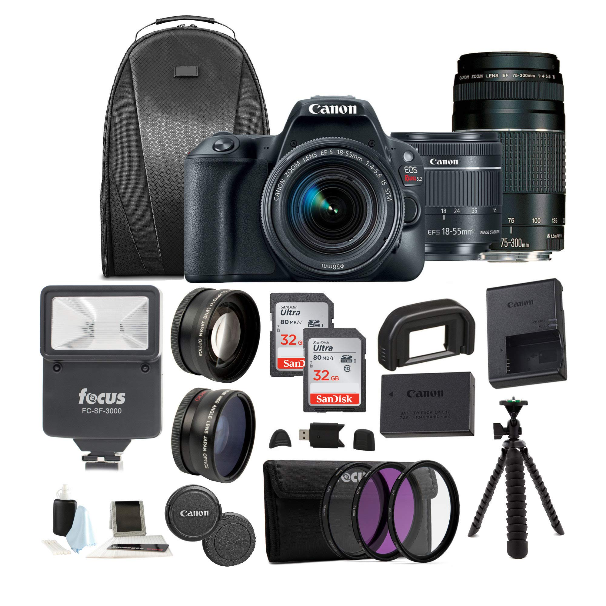 Canon EOS Rebel SL2 Digital Camera with 18-55mm & 75-300mm Lens + 32GB SD Card + Tripod + Filter Kit +Flash & Bag –Holiday Bundle by Canon (Image #1)