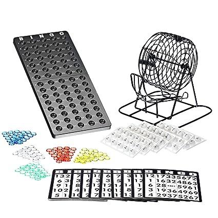 Bingo Spiel Set mit Bingotrommel aus Metall | 75 Kugeln | 18 Bingo Spiel Karten | 150 Bingochips | Ergebnisbrett | Gesellscha