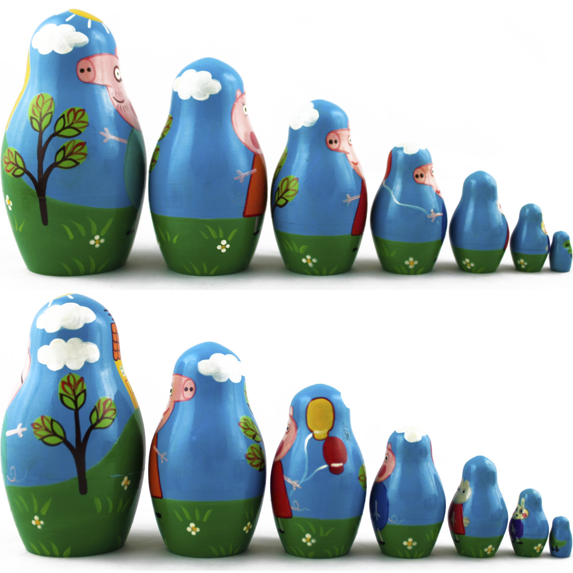 Peppa Pig Nesting Stacking Dolls Matryoshka Toys Set 7 dolls 5.3 in by MATRYOSHKA&HANDICRAFT (Image #2)
