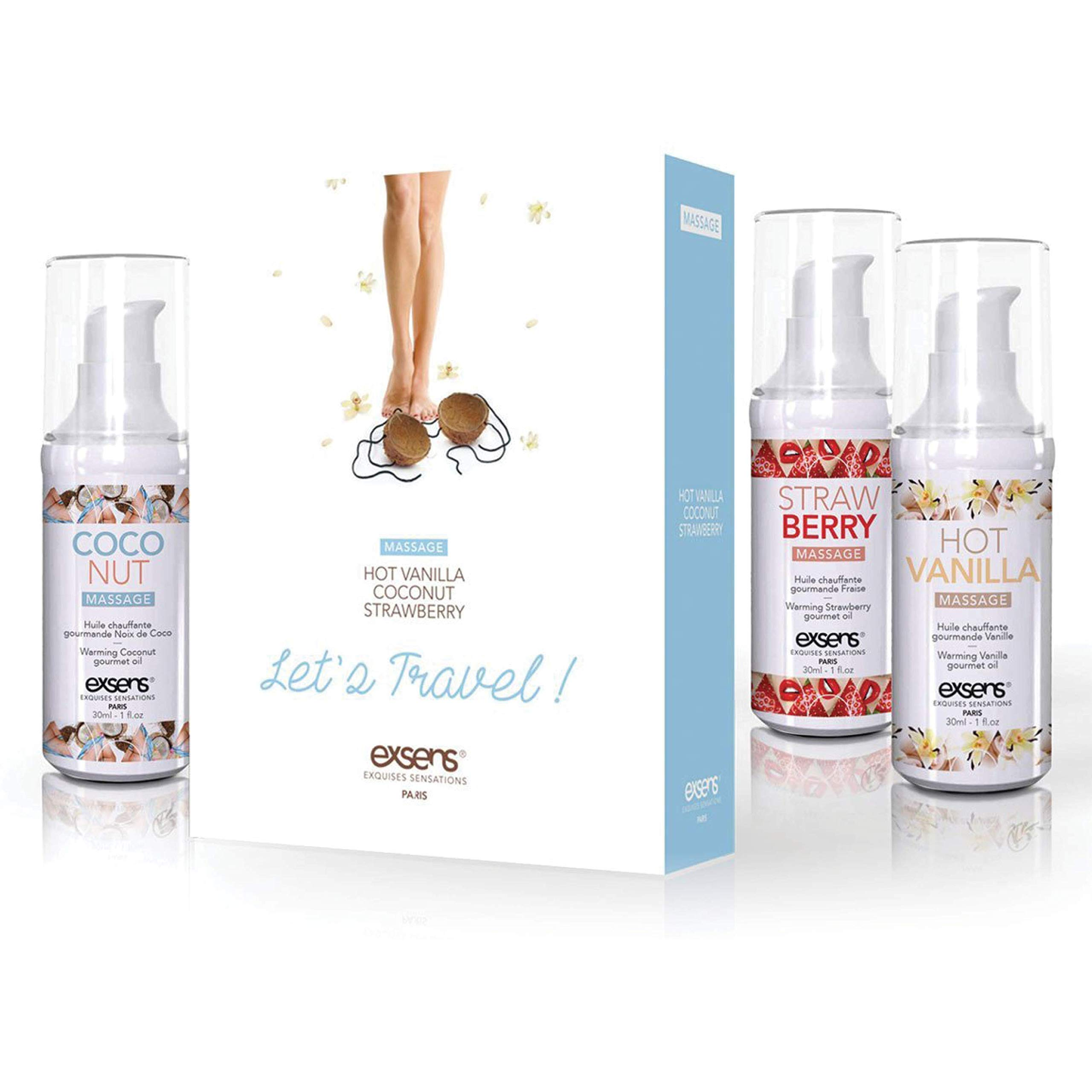 Exsens Let's Travel Warming Intimate Massage Oil Kit, Flavored Gel Gift Set, Strawberry, Coconut, and Hot Vanilla Flavor, Certified Vegan, 3 - 1 fl.oz Bottles