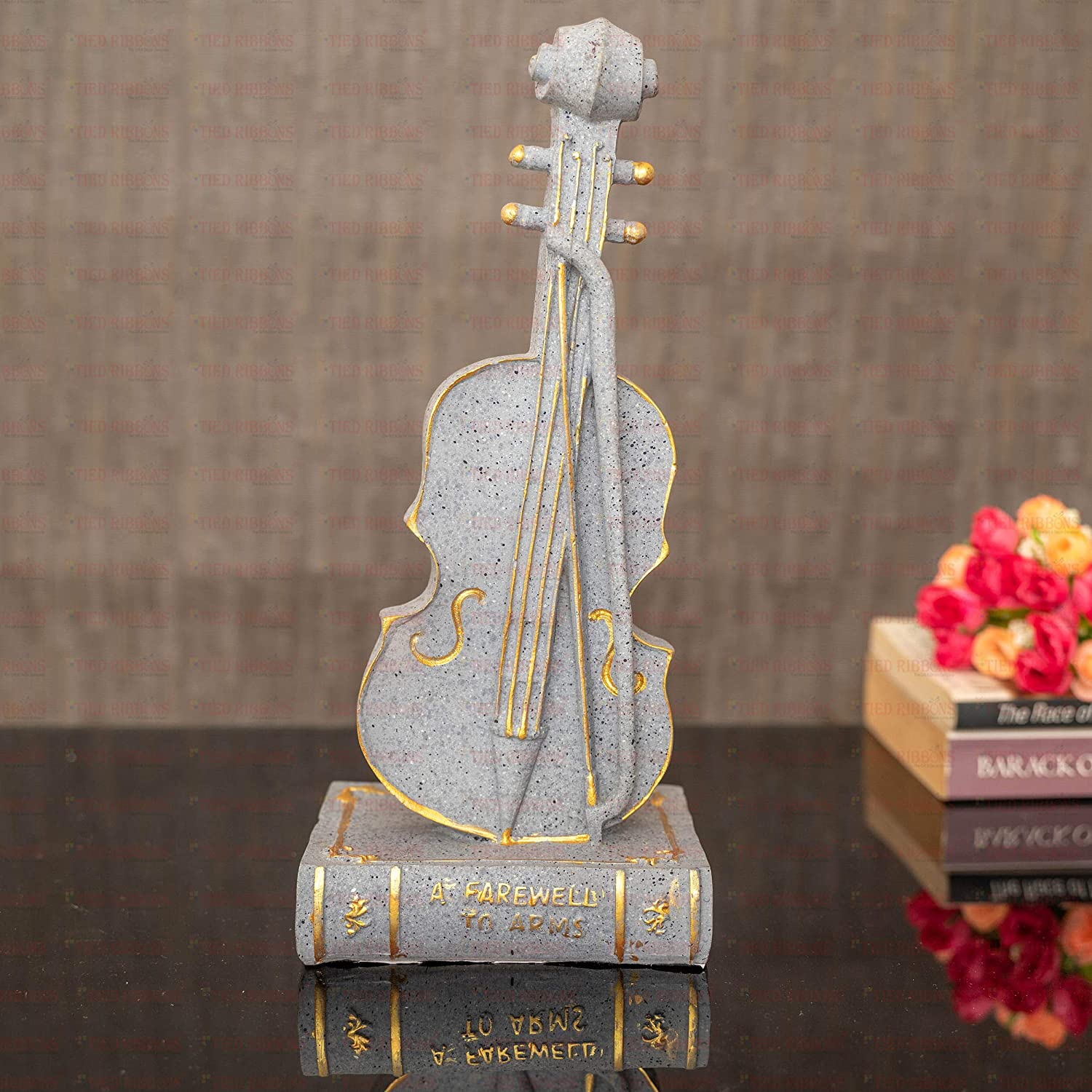 TIED RIBBONS Violin Musical Instrument Handcrafted Decorative Sculpture for Home Decor Wall Shelf Table Office Living Room Decoration Item (27.5 cm X 12 cm)