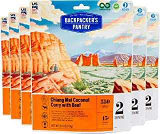 product image for Backpacker's Pantry Chiang Mai Coconut Curry with Beef, 2 Servings Per Pouch (6 Count), Freeze Dried Food, 13 Grams of Protein, Gluten Free