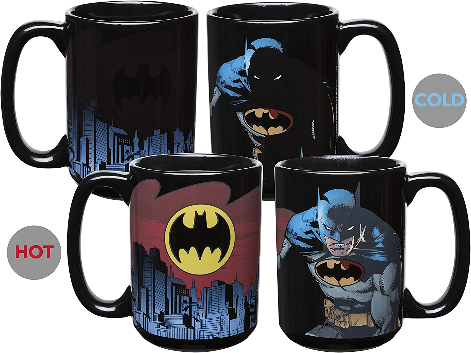 Zak Designs DC Comics Batman Unique Color Changing Ceramic Coffee Mug, Collectible Keepsake and Wonderful Coffee Mug (15oz, Batman, BPA-Free)