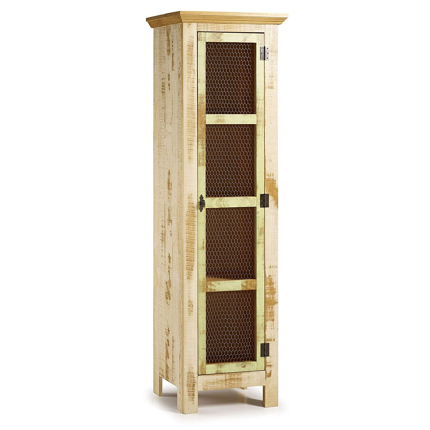 Distressed Green Sunrise Narrow Cabinet Solid Wood Distressed Color