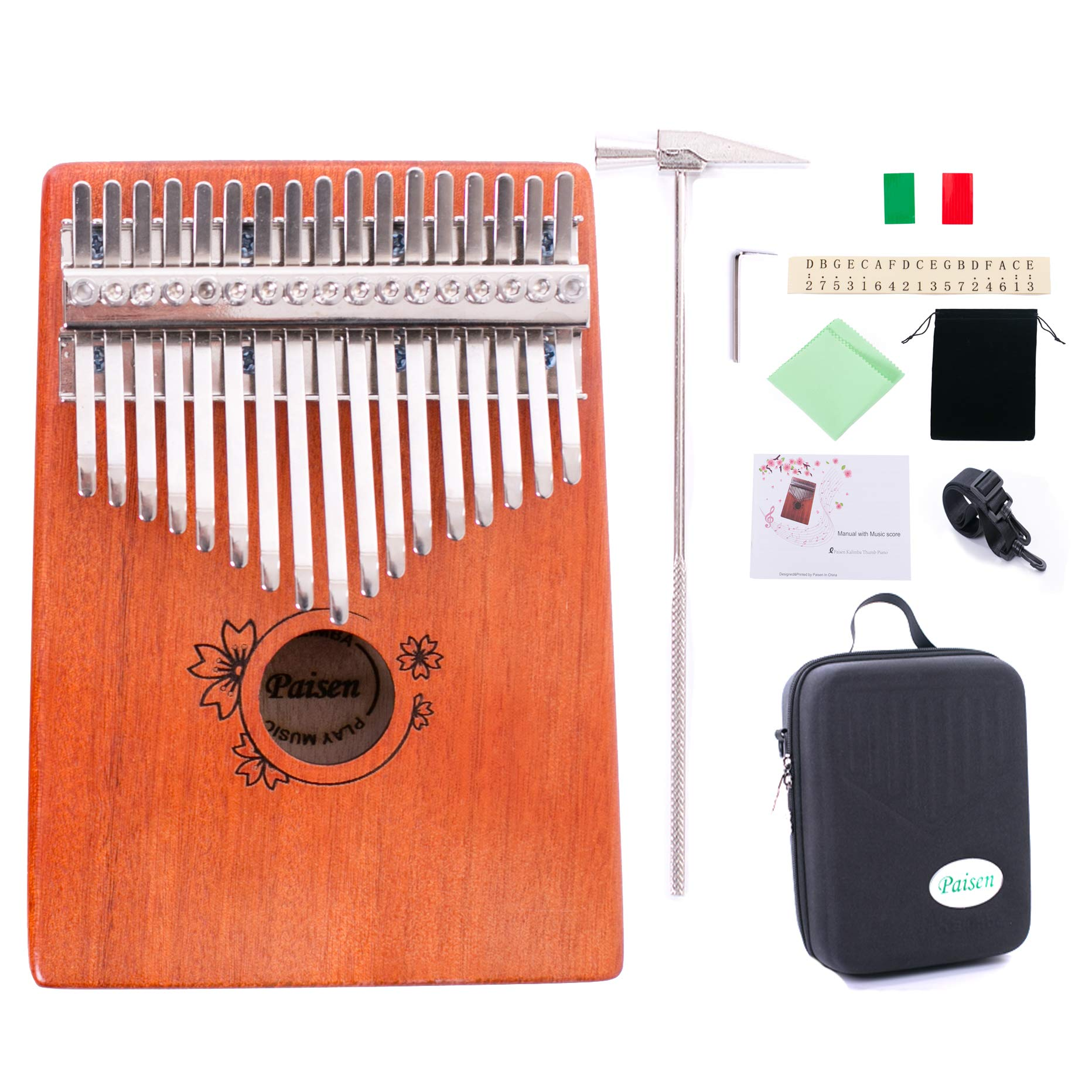 Paisen Kalimba 17 keys Thumb Piano with Study Instruction and Tune Hammer,Mahogany Wood Finger Piano with Portable Carrying Bag and Shoulder Strap for Kids Adult Beginners by Paisen (Image #1)