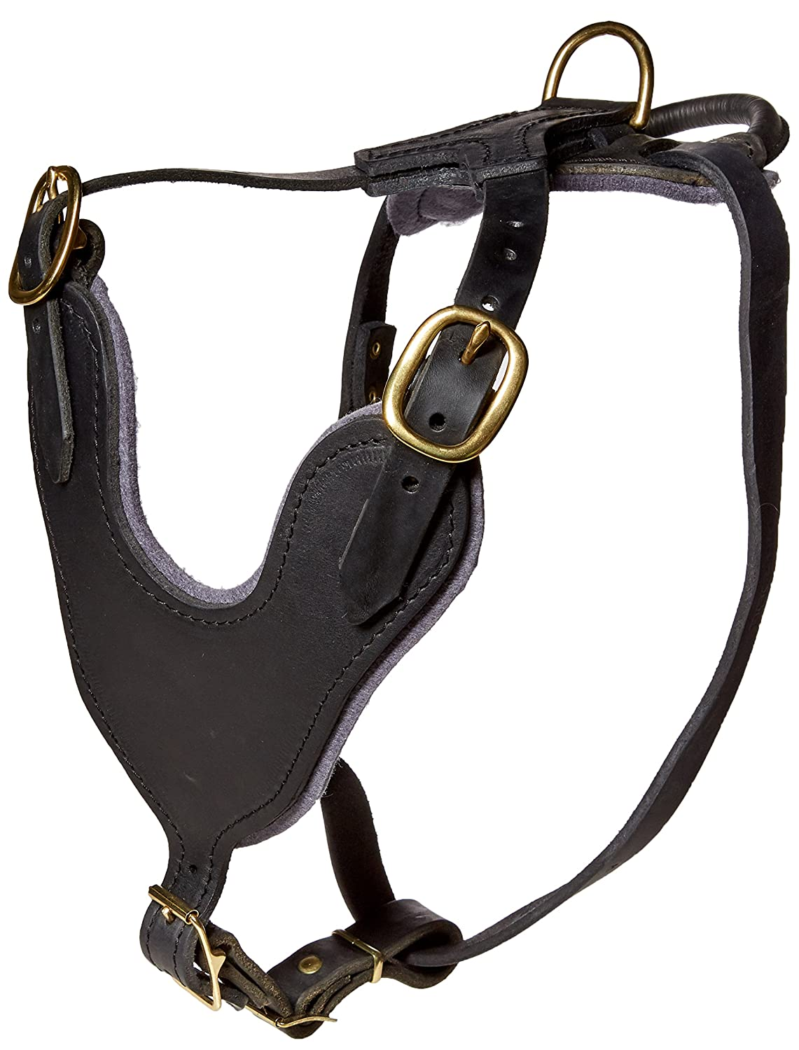 Dean & Tyler D&T Basic Handle SB-M Leather Basic Brass Hardware Dog Harness with Handle, Black, Medium-Fits Girth Size  71cm to 94cm