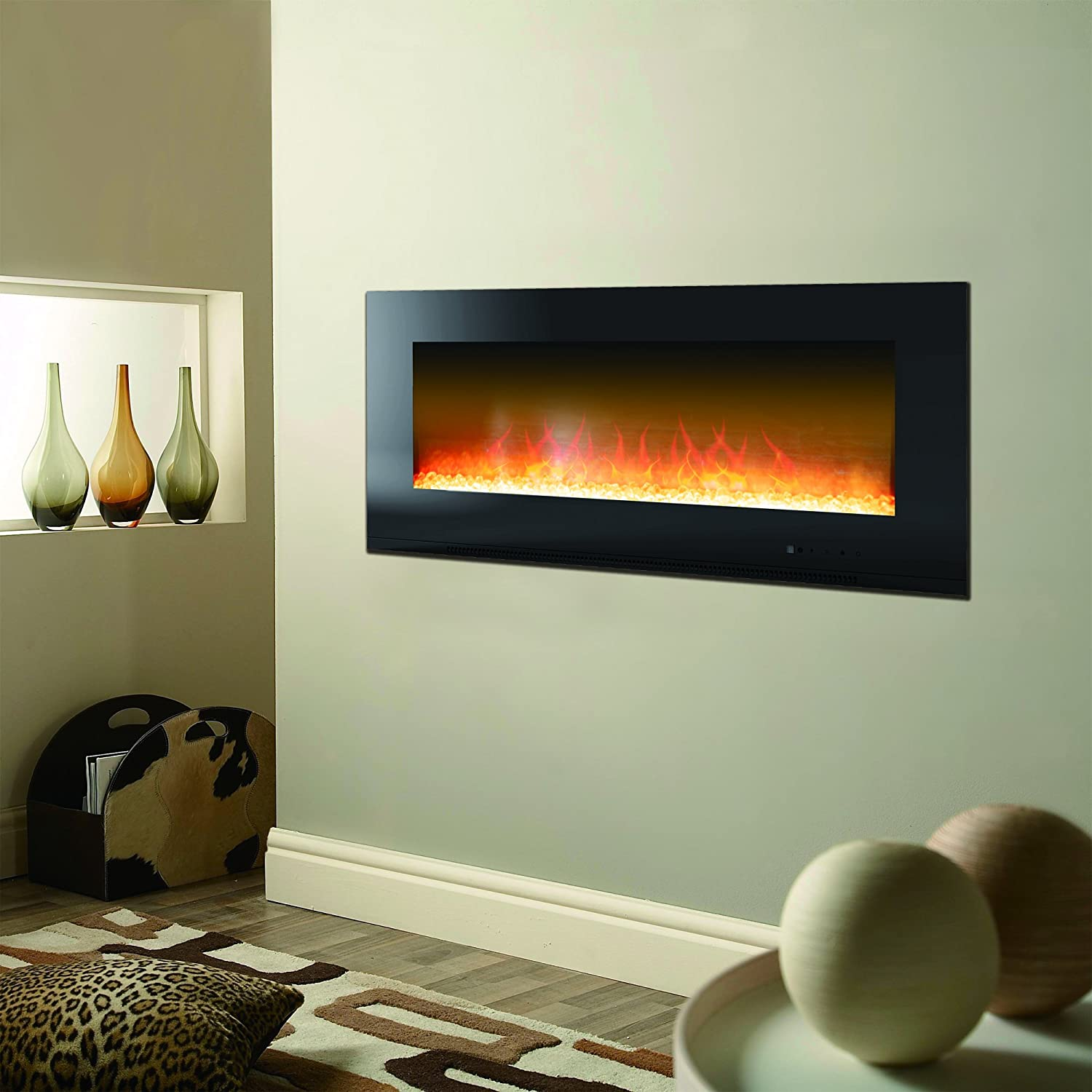 Cambridge Metropolitan 56 In. Wall-Mount Electronic Fireplace with Flat Panel and Crystal Rocks