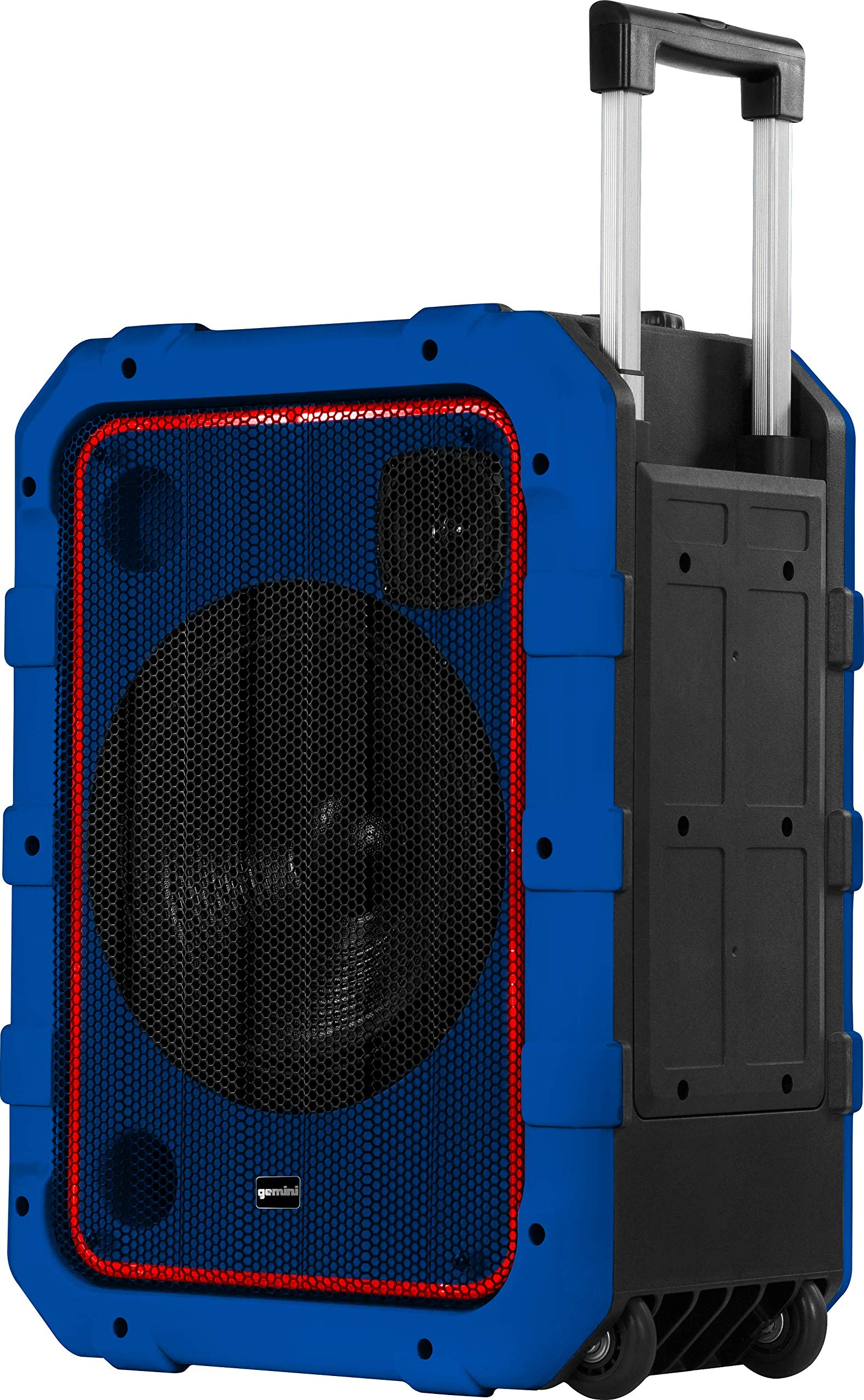 Gemini MPA-2400 10'' Rechargeable Weather-Resistant Trolley Speaker with Bluetooth, LED Light Show, 6 DSP Modes, Microphone and Guitar Inputs, 240W Peak Power, FM Radio, Blue by Gemini