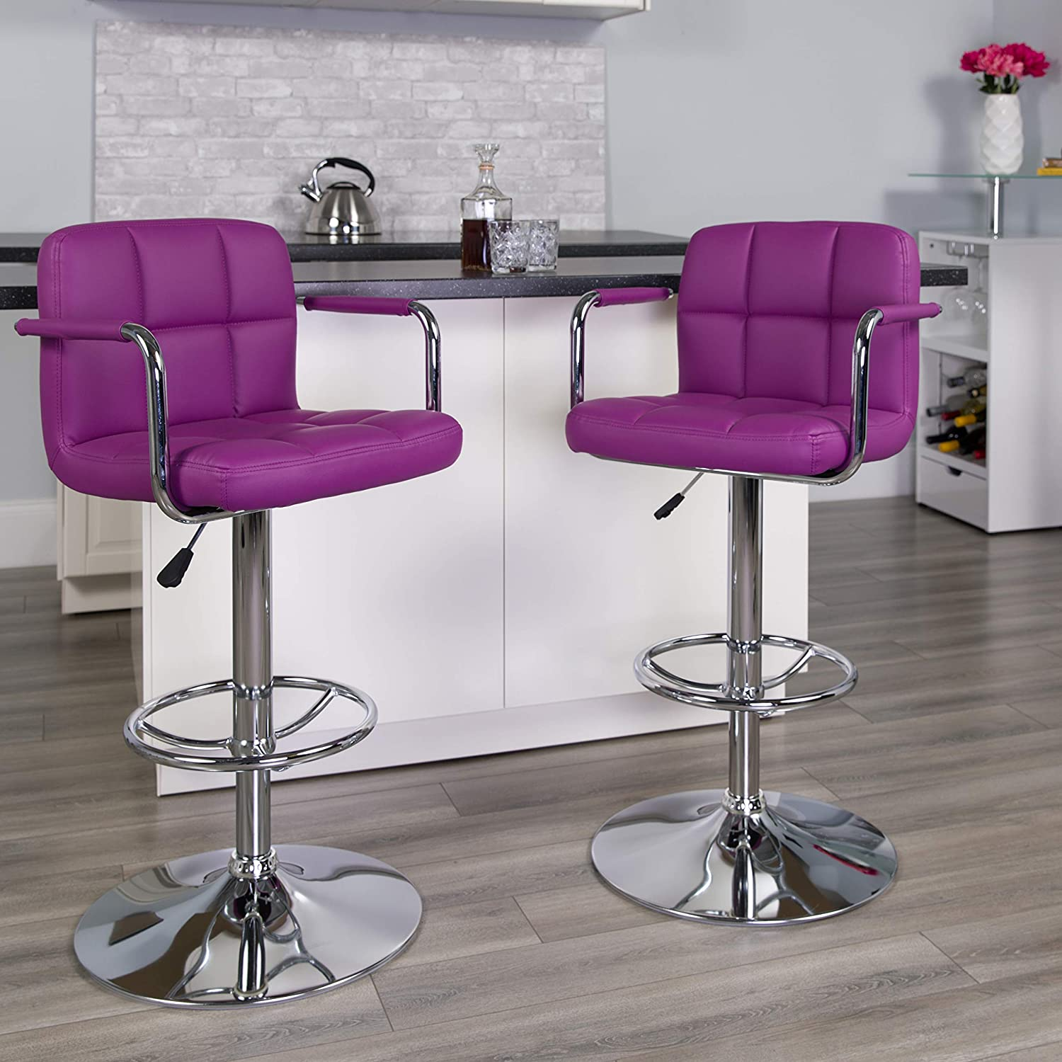 Flash Furniture 2 Pk. Contemporary Purple Quilted Vinyl Adjustable Height Barstool with Arms and Chrome Base