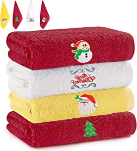 newoer Christmas Hand Towels Washcloth Oversized Print Kitchen Towels Dish Towels 100% Cotton Super Absorbent Bar Towels Cleaning Towels for Christmas Fireside Family Dinners(4PCS)