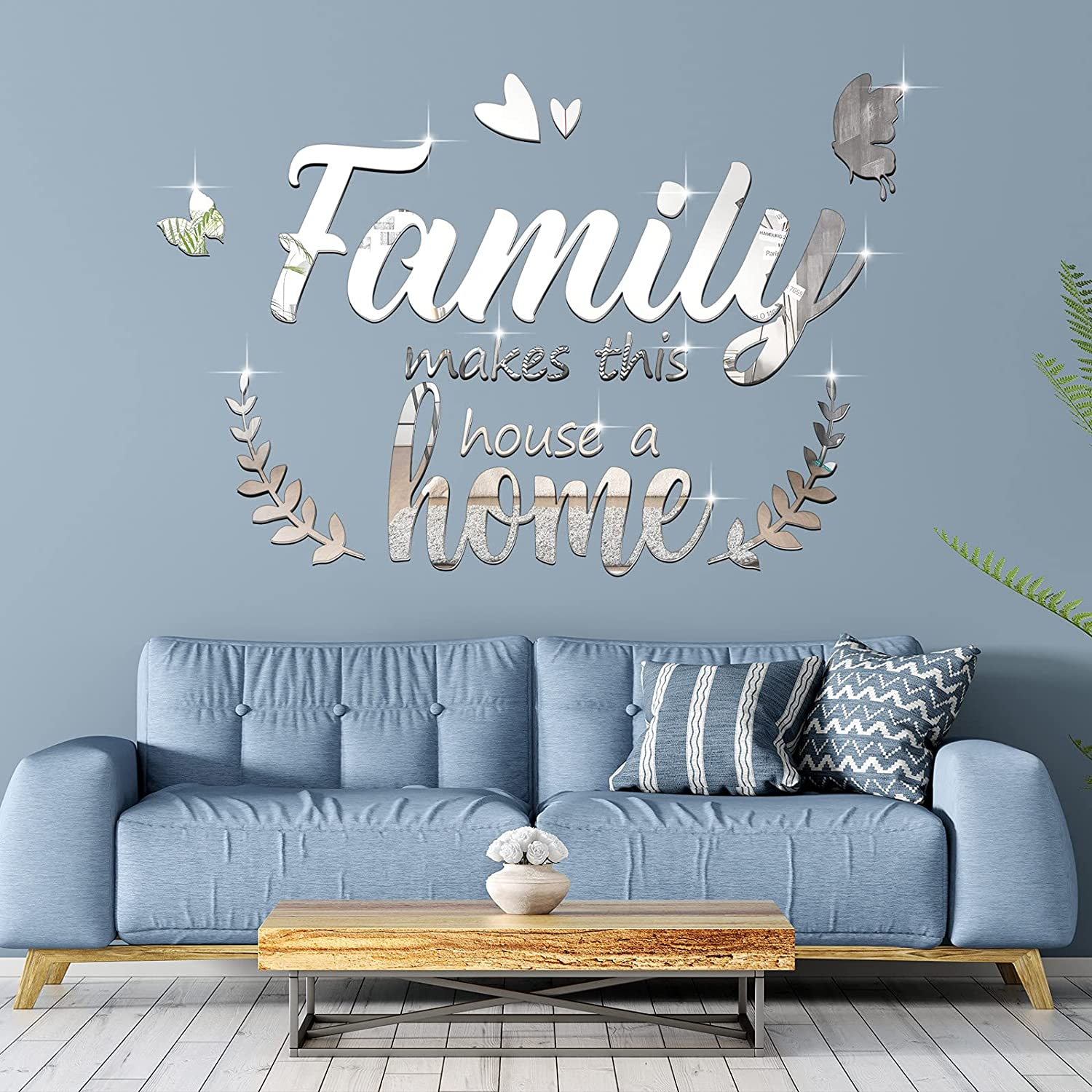 3D Acrylic Mirror Decal Wall Decor Stickers Family Letter Quotes Wall Stickers Removable DIY Motivational Family Butterfly Mirror Stickers for Home Office Dorm Mirror Wall Decoration (Black) (Silver)