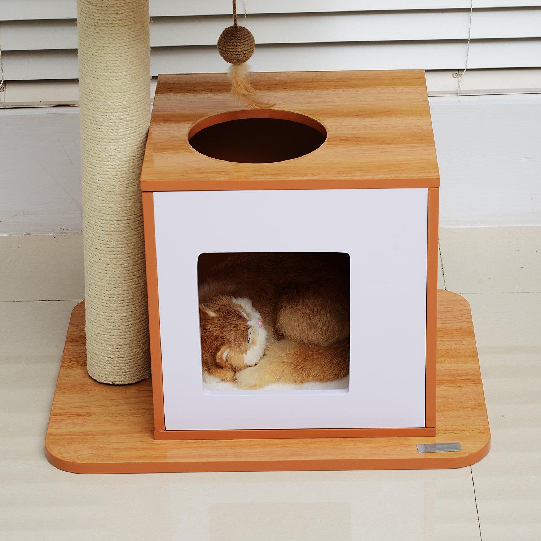 PawHut Mueble para Gatos Rascador Juguete Poste para Gatos Madera Sisal Raton: Amazon.es: Juguetes y juegos