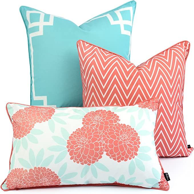 Hofdeco Spring Indoor Outdoor Pillow Cover Only Water Resistant For Patio Lounge Sofa Aqua Coral Pink Greek Key Chevron Floral 18 X18 20 X20 12 X20 Set Of 3 Garden Outdoor Amazon Com