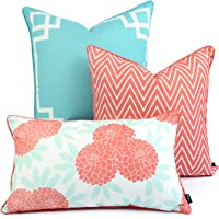 Hofdeco Spring Indoor Outdoor Cushion Cover ONLY, Water Resistant for Patio Lounge Sofa, Aqua Coral Pink Greek Key Chevron Floral, 45cmx45cm 50cmx50cm 30cmx50cm, Set of 3