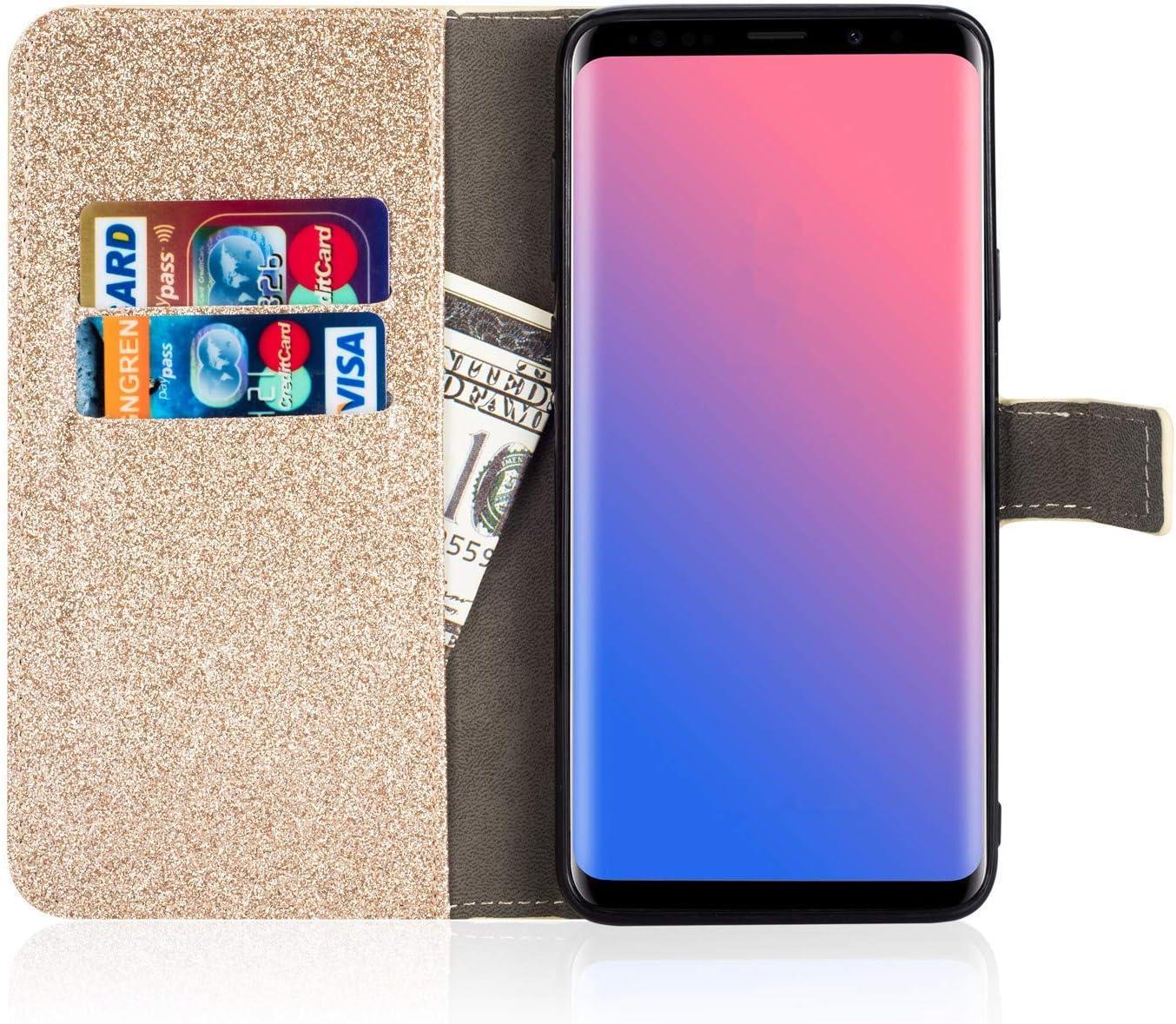 Gold Felfy Kompatibel mit Galaxy A5 2017 H/ülle,Kompatibel mit Galaxy A5 2017 Handyh/ülle Glitzer Diamant Strass Schutzh/ülle PU Leder Flip Case Cover Magnetische Brieftasche mit Kartenfach