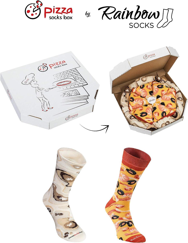 4 paia di Calze Donna Uomo Pizza Frutti di Mare Rainbow Socks