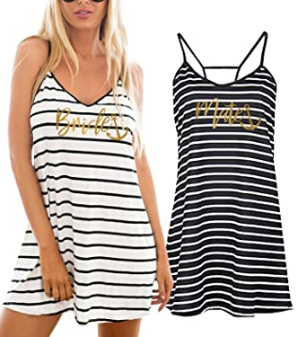 8b19c6a41531b It's Your Day Clothing Gold Bride Mate Striped Swimsuit Cover Up Beach Dress  at Amazon Women's Clothing store: