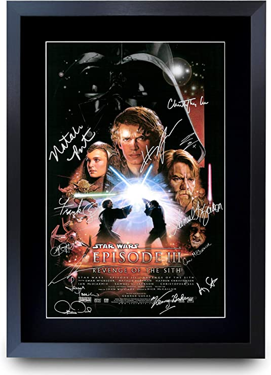 Hwc Trading A3 Fr Star Wars Episode Iii Revenge Of The Sith The Cast Hayden Christensen Ewan Mcgregor Gifts Printed Poster Signed Autograph Picture For Movie Memorabilia Fans A3 Framed Amazon Co Uk