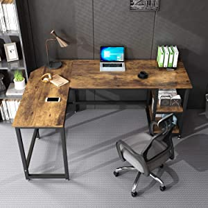 L Shaped Desk, Rustic Desktop with Black Metal Frame Can be Used as a Computer Desk, School Writing Desk, Corner Study/Work Table, Home Office Desk