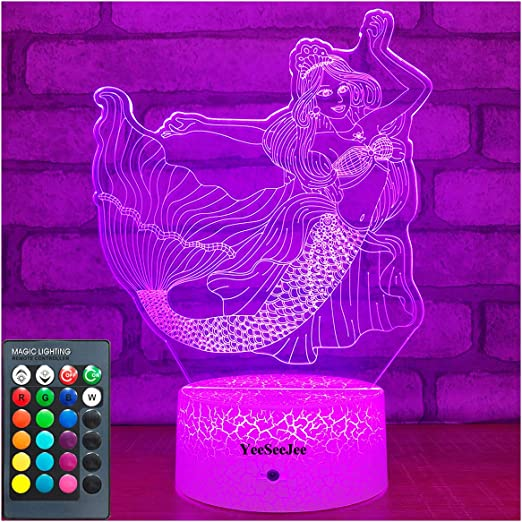 The Little Mermaid 3D Optical Illusion Colour Changing LED Lamp New