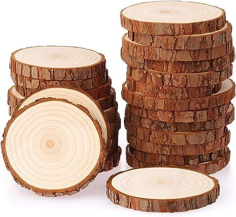 Fuyit bois naturel Tranches 25 pcs 8-9 cm Trou Foré inachevée Log en bois pour