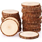 Fuyit Natural Wood Slices 25 Pcs 3.1-3.5 Inches Unfinished Wood Craft Kit Undrilled Wooden Circles Without Hole Tree…
