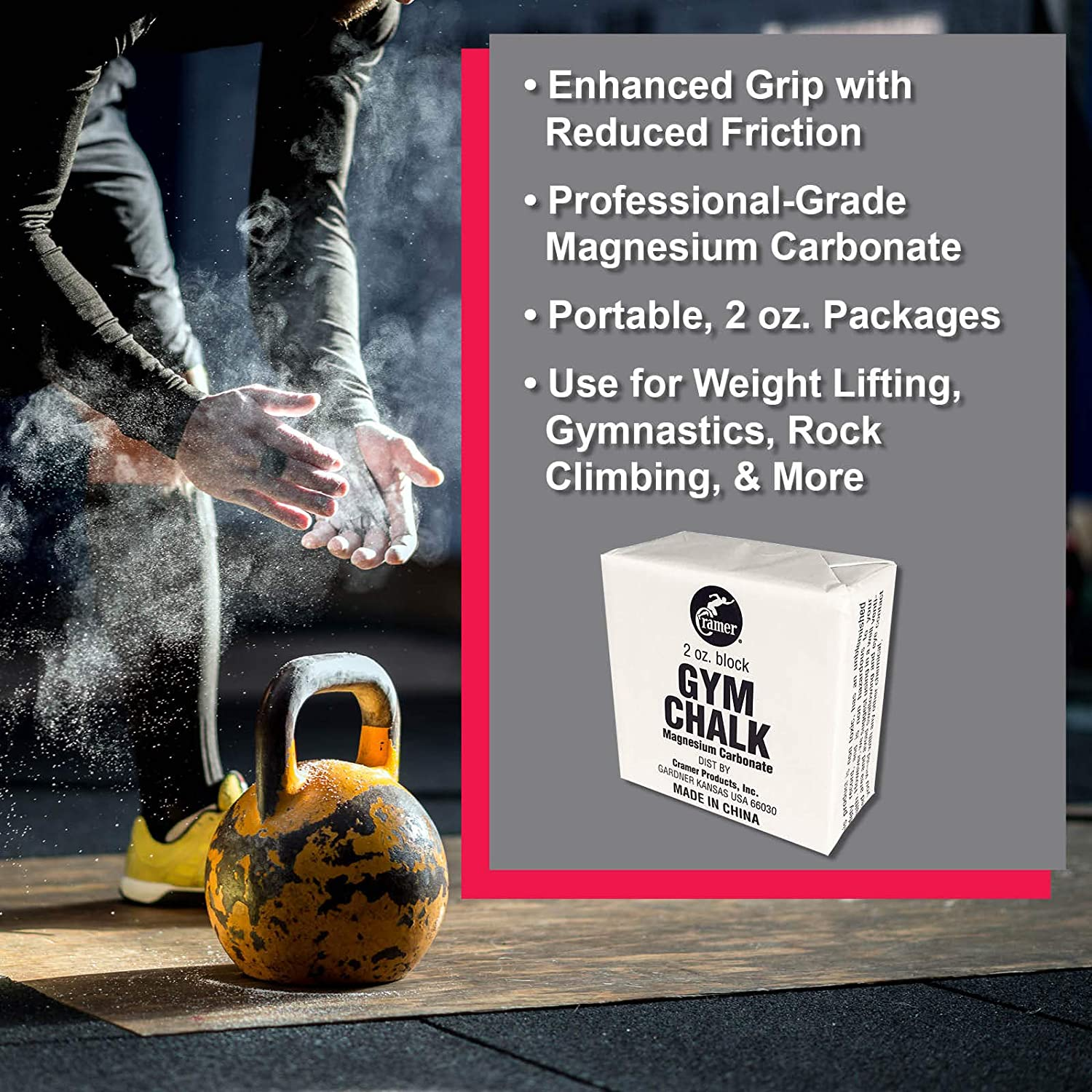 Cramer Gym Chalk Block, Magnesium Carbonate for Better Grip in Gymnastics, Weightlifting, Power Lifting, Pole Fitness, Rock Climbing, 4 oz. : Gymnastics Chalk : Sports & Outdoors