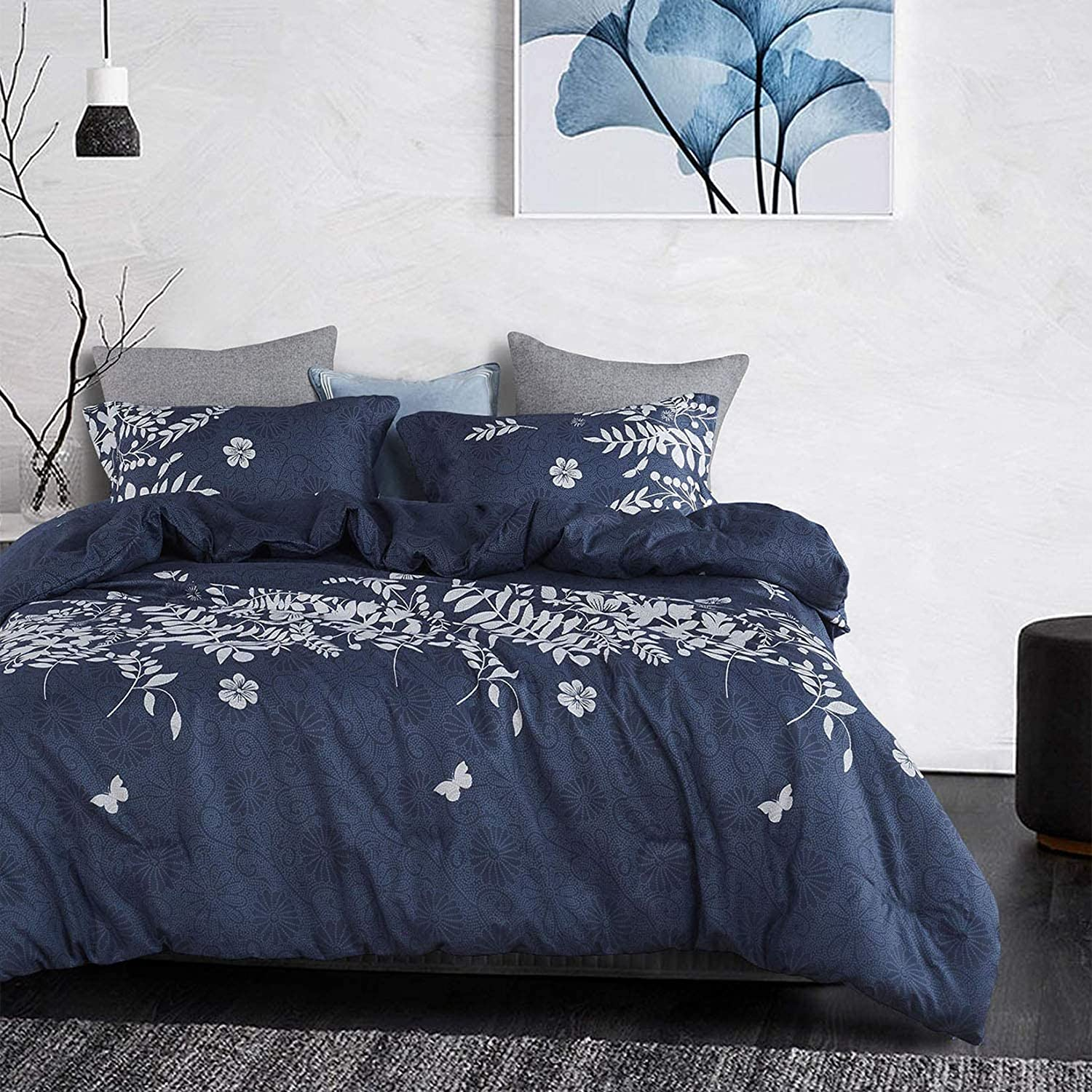Wake In Cloud - 3pcs Navy Blue Duvet Cover Set, Gray/Grey Floral/Flowers Leaves Pattern Printed, Soft Microfiber Bedding (California/Cal King Size)
