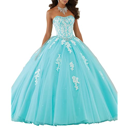 Eldecey Womens Lace Applique Floor Length Tulle Ball Gown Quinceanera Dress