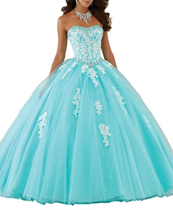 Eldecey Women s Lace Applique Sweet Sixteen Girl Birthday Party Backless  Long Tulle Quinceanera Dress Aqua US16W 42bc0278445c