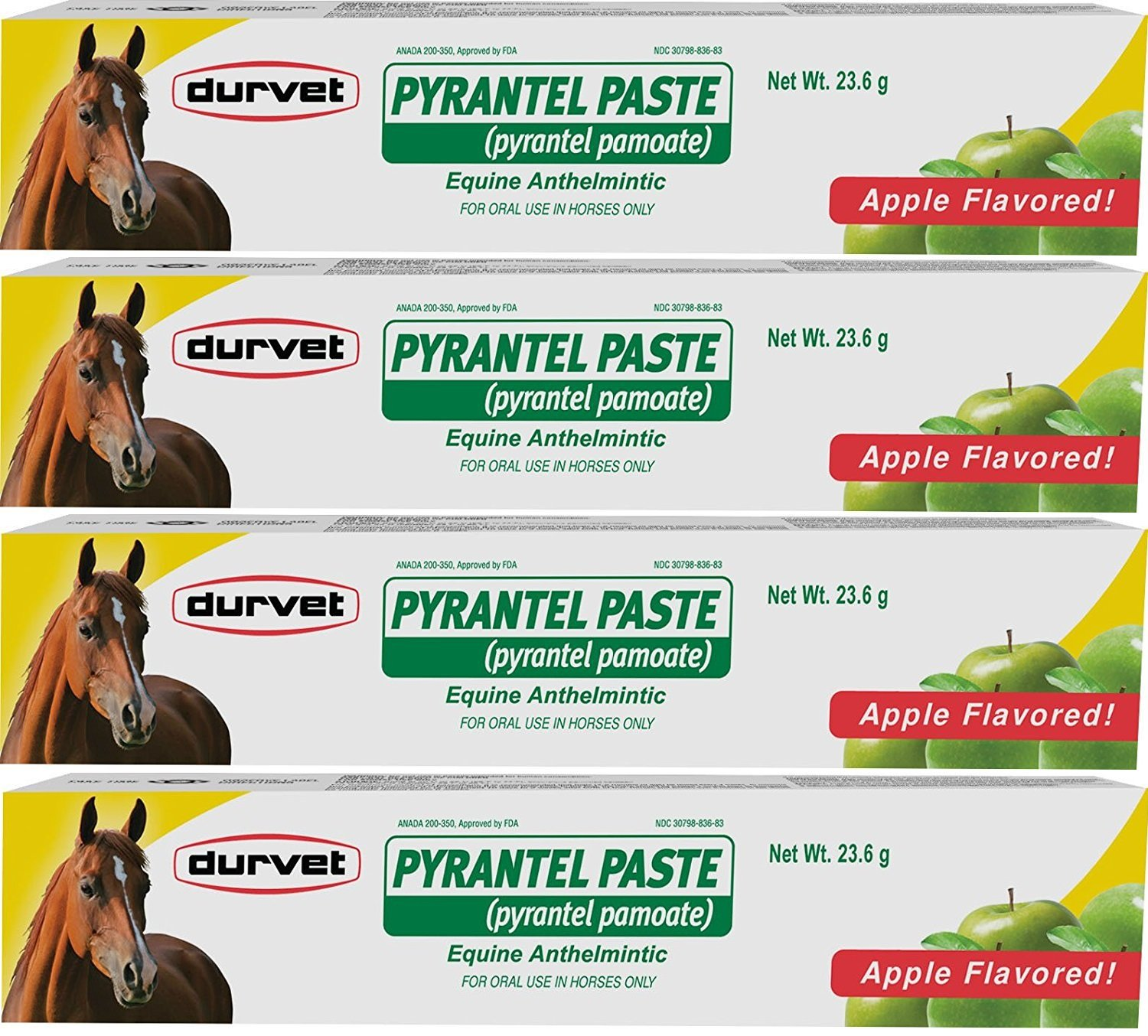(4 Pack) Durvet Pyrantel Paste Wormer, 23.6gm Per Pack