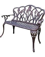 Oakland Living Tulip Cast Aluminum Love Seat Bench, Antique Bronze