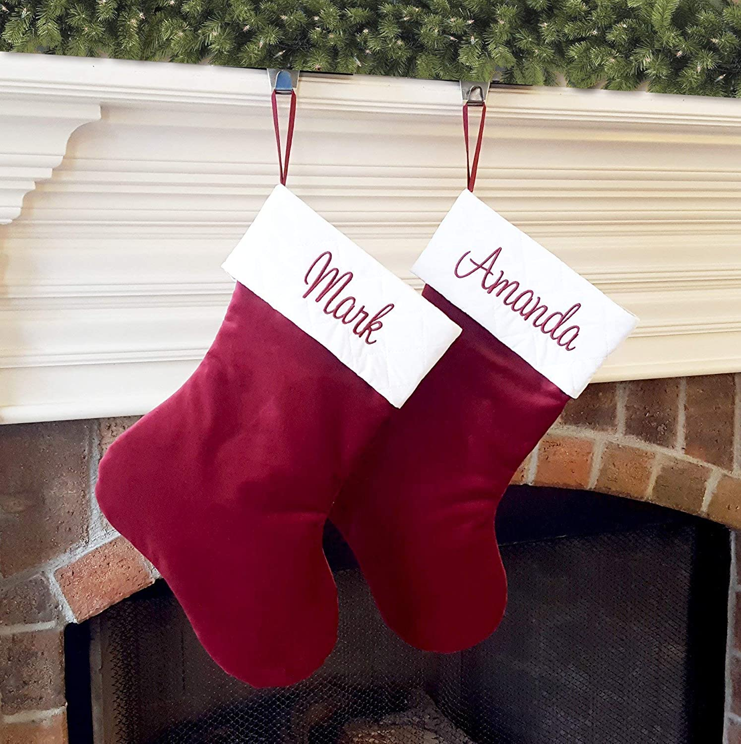 Personalized Christmas Stocking Traditional Burgundy Velvet Stocking With White Or Ivory Quilted Trim