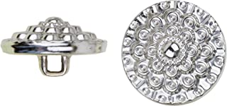 product image for C&C Metal Products 5041 Beaded Flower Metal Button, Size 45 Ligne, Nickel, 36-Pack