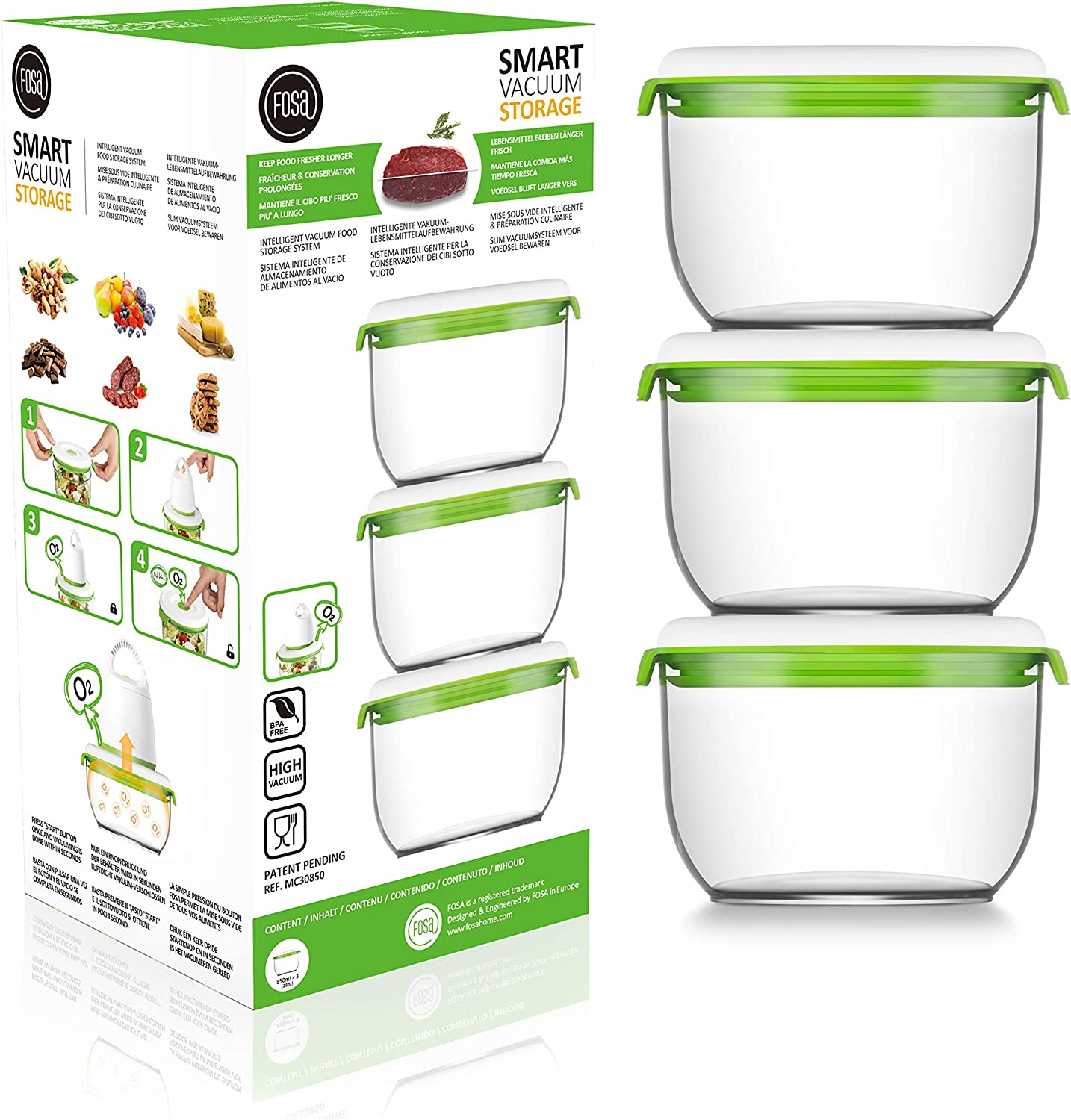 FOSa Vacuum Seal Food Storage System Reusable Medium Containers, 3 Pack, 28 oz Size