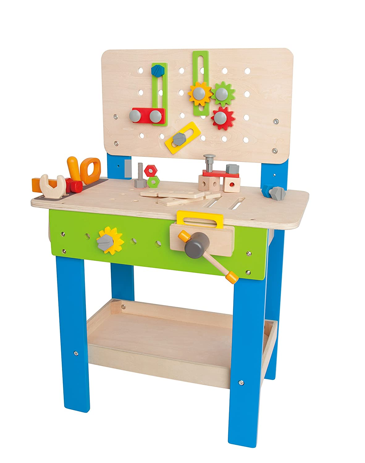 Master Workbench by Hape | Award Winning Kid's Wooden Tool Bench Toy Pretend Play Creative Building Set, Height Adjustable 32 Piece Workshop for Toddlers